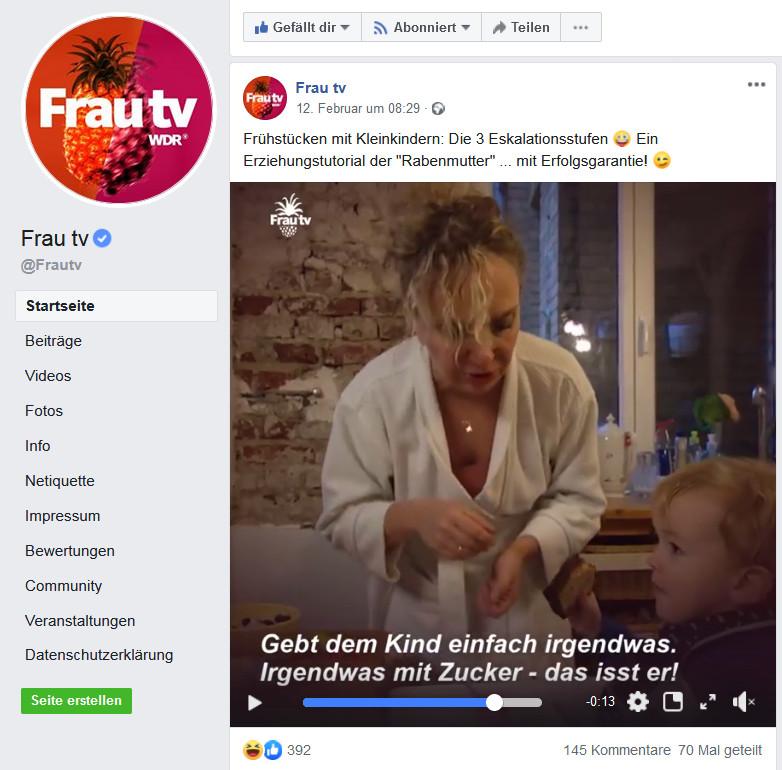Screenshot von Frau TV auf Facebook